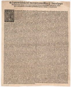 """Picture of the original Papal Bull """"Doctrine of Discovery"""" 1493"""